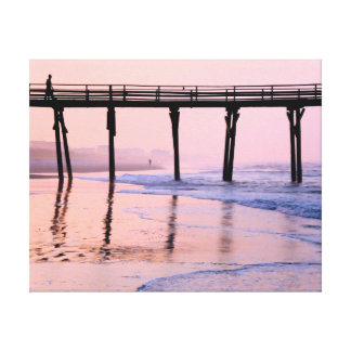 Pier Sunrise Wrapped Canvas Print