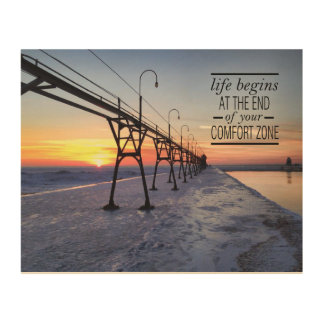 Pier sunset quote wood canvas