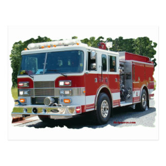 Pierce fire truck postcard
