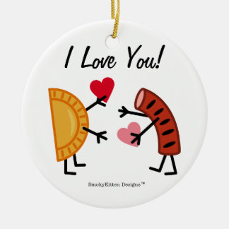 Pierogi & Kielbasa - I Love You! (customisable) Ceramic Ornament