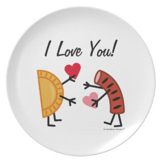 Pierogi & Kielbasa - I Love You! (customizable) Plate