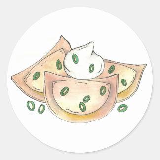 Pierogies Polish Cuisine Potato Dumplings Foodie Classic Round Sticker