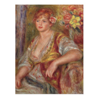Pierre A Renoir   Blonde Woman with a Rose Postcard