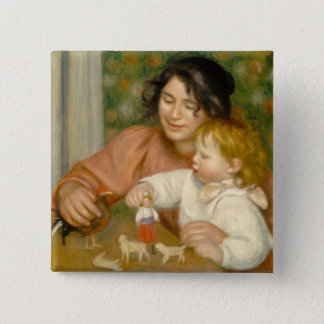 Pierre A Renoir | Child with Toys 15 Cm Square Badge