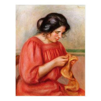 Pierre A Renoir   Gabrielle darning Postcard