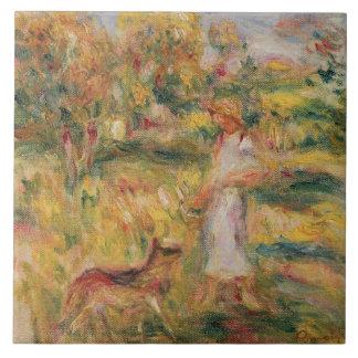 Pierre A Renoir | Landscape with the artist's wife Large Square Tile