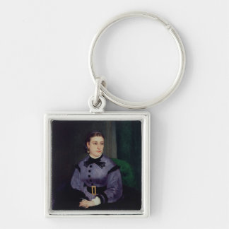 Pierre A Renoir | Portrait of Mademoiselle Sicot Silver-Colored Square Key Ring