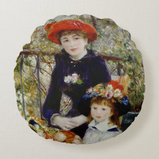 Pierre A Renoir   Two Sisters, or On The Terrace Round Cushion