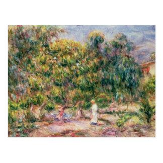 Pierre A Renoir | Woman in Garden of Les Colettes Postcard