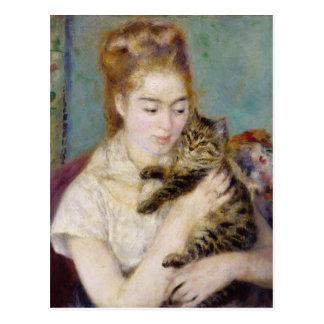 Pierre A Renoir   Woman with a Cat Postcard