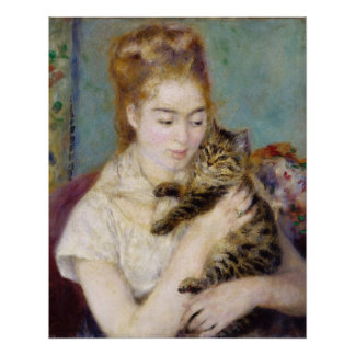 Pierre A Renoir | Woman with a Cat Poster