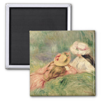 Pierre A Renoir | Young Girls on the River Bank Magnet