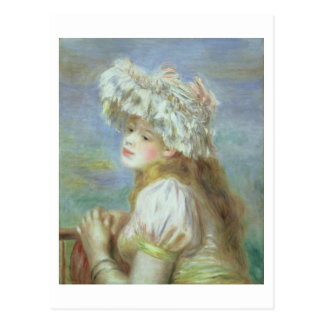 Pierre A Renoir | Young woman in a lace hat Postcard