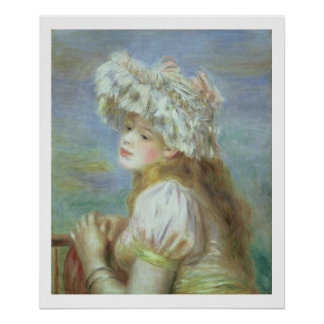 Pierre A Renoir | Young woman in a lace hat Poster