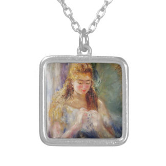 Pierre-Auguste Renoir- A Needlewoman Silver Plated Necklace