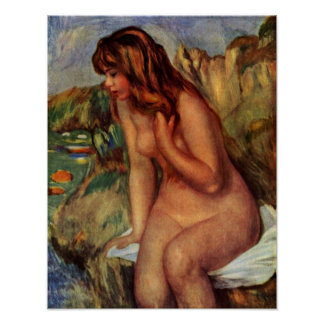 Pierre-Auguste Renoir - Bathers on a rock Poster