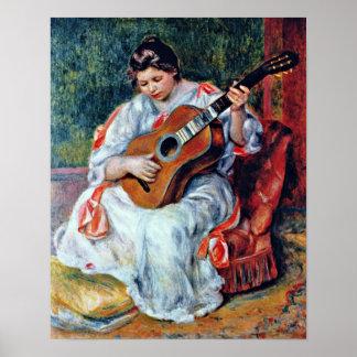 Pierre-Auguste Renoir - guitar player Poster