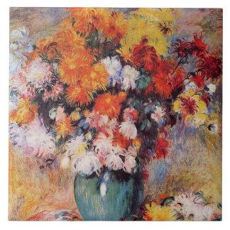 Pierre-Auguste Renoir Vase of Chrysanthemums Ceramic Tile