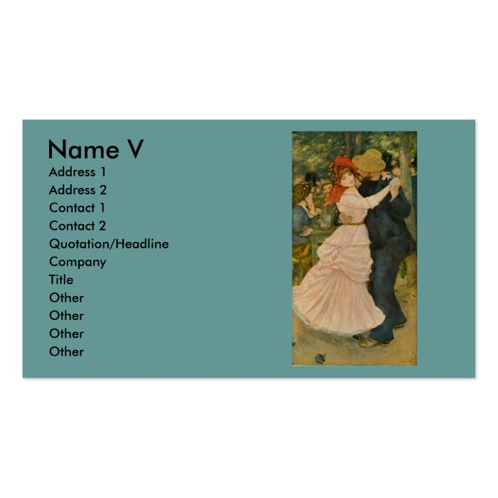 Pierre-Auguste Renoir's Dance at Bougival (1883) Pack Of Standard Business Cards