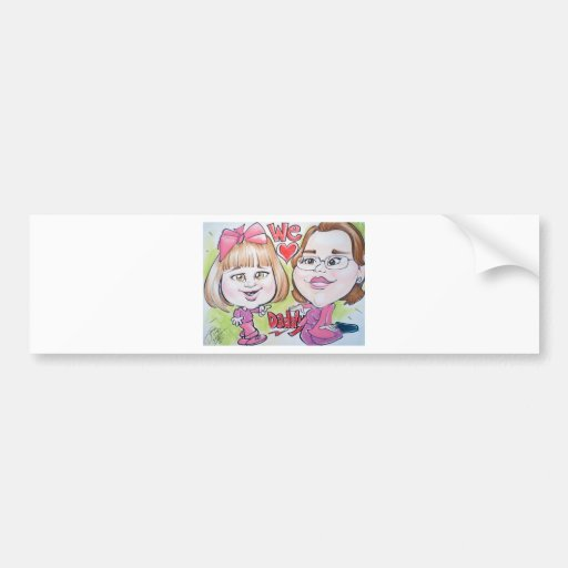 Pierre Bossier Mall Caricature Baby with Mom Bumper Stickers