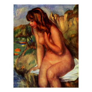 Pierre Renoir - Bathing sitting on a rock Poster