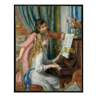 Pierre Renoir - Young Girls at Piano Poster