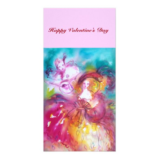 PIERROT AND ARLECCHINA Valentine's Day Music Personalized Photo Card
