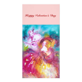 PIERROT AND ARLECCHINA Venetian Carnival, Personalized Photo Card