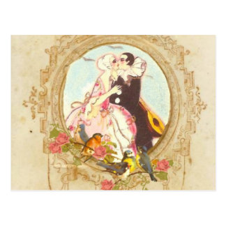 Pierrot and Columbine Postcard