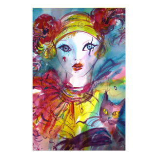 PIERROT WITH CAT / Mardi Gras Masquerade Party Stationery