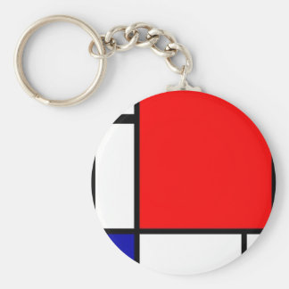 Piet Mondrian - Neoplastic Art Basic Round Button Key Ring
