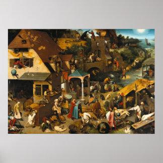 Pieter Bruegel the Elder- Netherlandish Proverbs Poster
