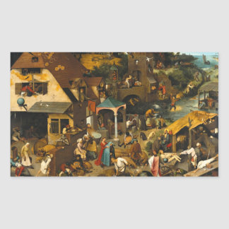Pieter Bruegel the Elder - Netherlandish Proverbs Rectangular Sticker