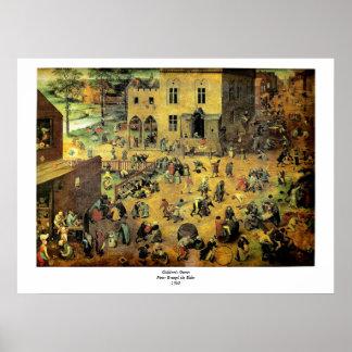 """Pieter Bruegel's """"Children's Games"""" - 1560 Poster"""