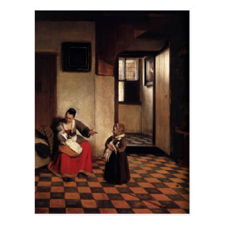Pieter Hooch- A Woman with a Baby in Her Lap Postcard
