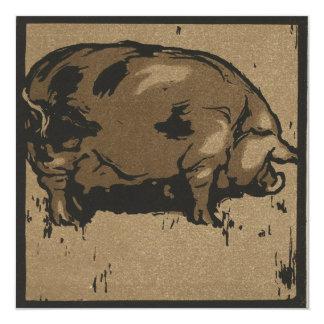 Pig 13 Cm X 13 Cm Square Invitation Card