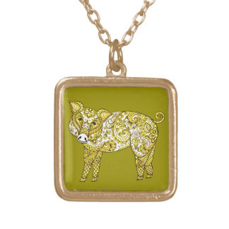 Pig 2 gold plated necklace