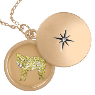 Pig 2 locket necklace