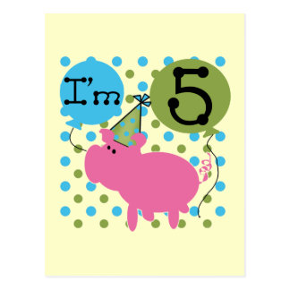 Pig 5th Birthday Tshirts and Gifts Postcard