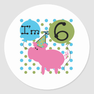 Pig 6th Birthday Classic Round Sticker