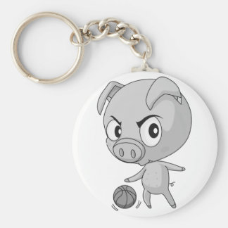 Pig and basketball basic round button key ring
