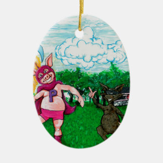 Pig and Raccoon and a Rocket Ceramic Ornament