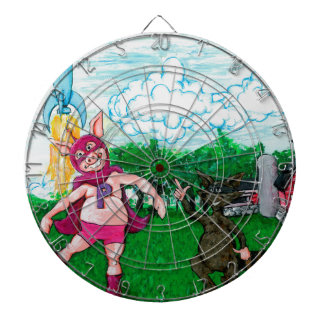 Pig and Raccoon and a Rocket Dartboards