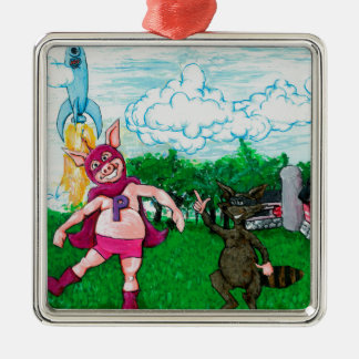 Pig and Raccoon and a Rocket Metal Ornament