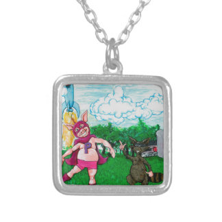 Pig and Raccoon and a Rocket Silver Plated Necklace
