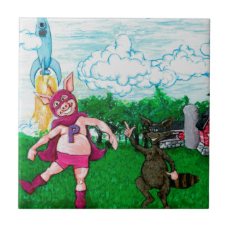 Pig and Raccoon and a Rocket Tile