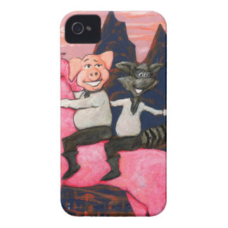Pig and Raccoon on a Pink Un icorn iPhone 4 Cover