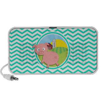 Pig Aqua Green Chevron iPod Speakers