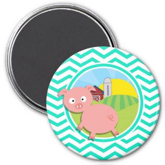 Pig Aqua Green Chevron Fridge Magnet