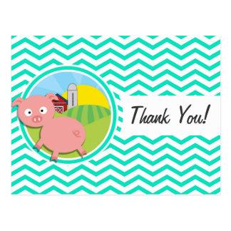 Pig Aqua Green Chevron Postcard